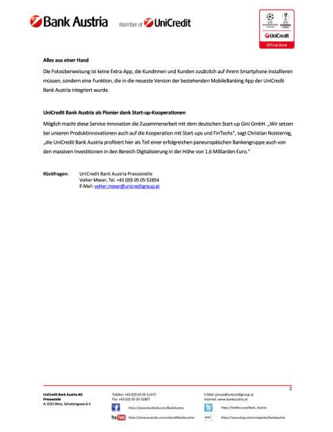 UniCredit Bank Austria bietet als erste Bank in Österreich die Fotoüberweisung, Seite 2/2, komplettes Dokument unter http://boerse-social.com/static/uploads/file_2212_unicredit_bank_austria_bietet_als_erste_bank_in_osterreich_die_fotouberweisung.pdf (18.04.2017)