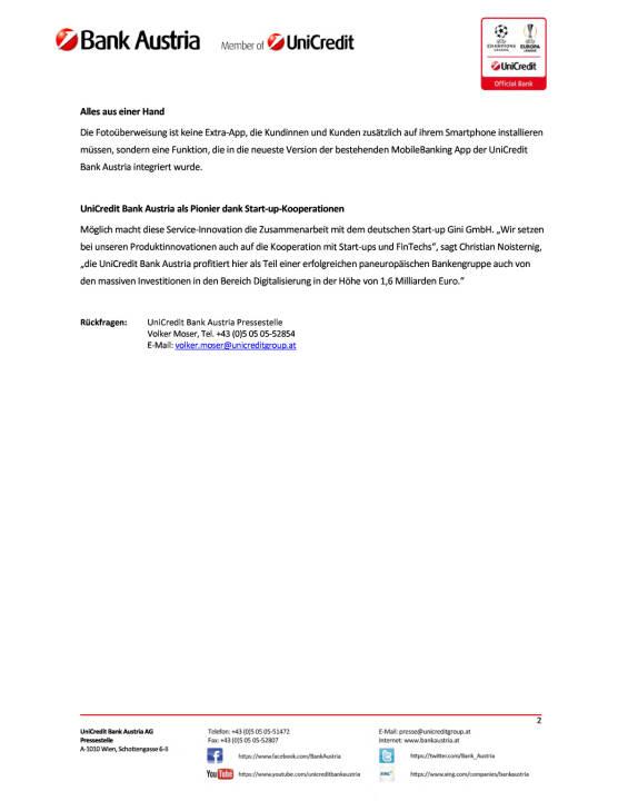 UniCredit Bank Austria bietet als erste Bank in Österreich die Fotoüberweisung, Seite 2/2, komplettes Dokument unter http://boerse-social.com/static/uploads/file_2212_unicredit_bank_austria_bietet_als_erste_bank_in_osterreich_die_fotouberweisung.pdf