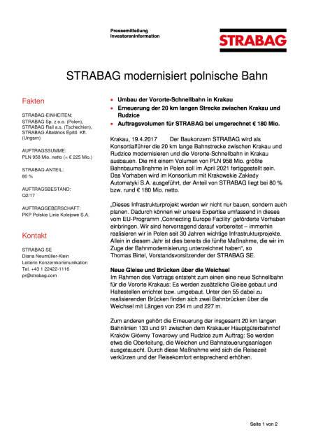 Strabag modernisiert polnische Bahn, Seite 1/2, komplettes Dokument unter http://boerse-social.com/static/uploads/file_2215_strabag_modernisiert_polnische_bahn.pdf (19.04.2017)