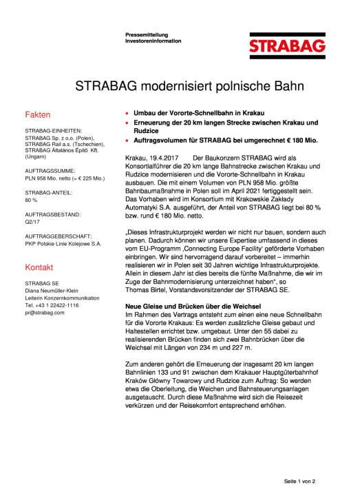 Strabag modernisiert polnische Bahn, Seite 1/2, komplettes Dokument unter http://boerse-social.com/static/uploads/file_2215_strabag_modernisiert_polnische_bahn.pdf