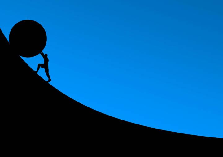 Widerstand, Gegenwind, Mühsam, Schwer, Aufgabe, Herausforderung (Bild: Pixabay/NeuPaddy https://pixabay.com/de/überwindung-stein-rollen-schieben-2127669/ )