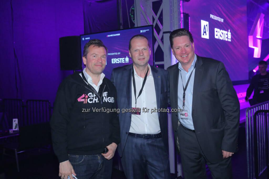 Markus Breitenecker, Michael Dockal (CEO Zgonc) & Michael Stix, ©  ProSiebenSat.1 Puls4 (25.04.2017)
