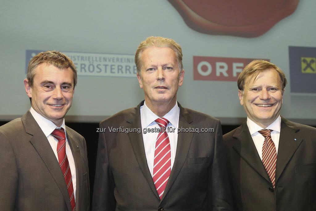 Heinrich Schaller (Raiffeisenlandesbank OÖ-Generaldirektor), Reinhold Mitterlehner (Wirtschaftsminister), Klaus Pöttinger (Präsident der Industriellenvereinigung OÖ), (Foto: RLB OÖ/Strobl), © RLB OÖ/Strobl (15.05.2013)