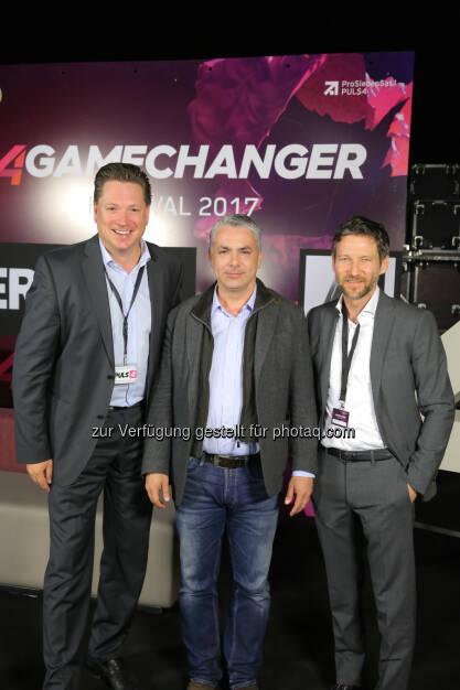 Michael Stix, Peter Bosek & Thomas Schaufler (Erste Bank Group AG), ©  ProSiebenSat.1 Puls4 (25.04.2017)