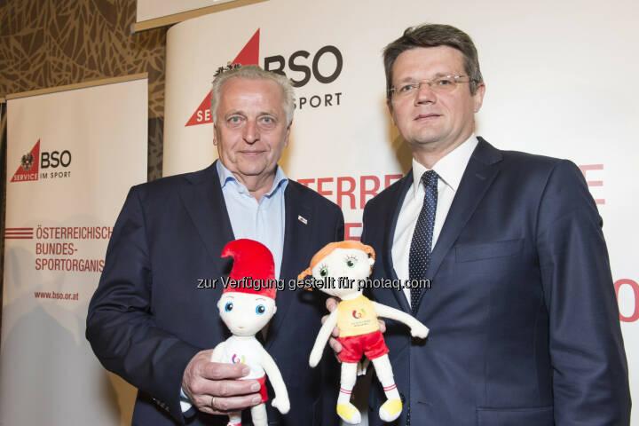 BSO-Präsident Rudolf Hundstorfer (links) und Polens Botschafter Artur Lorkowski freuen sich auf die World Games 2017 - Bundes-Sportorganisation (BSO): BSO gibt Startschuss zu World Games 2017 – AthletInnen bereit für größtes Multisportevent des Jahres (Fotocredit: BSO/Leo Hagen)