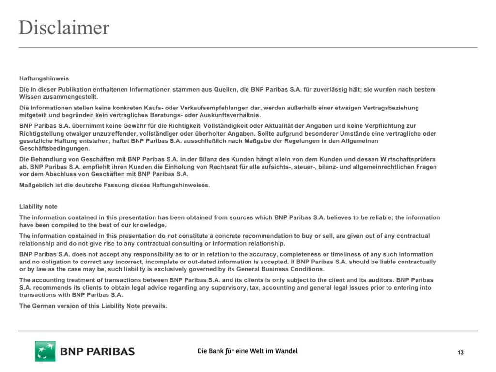 Präsentation BNP Paribas - Disclaimer (26.04.2017)