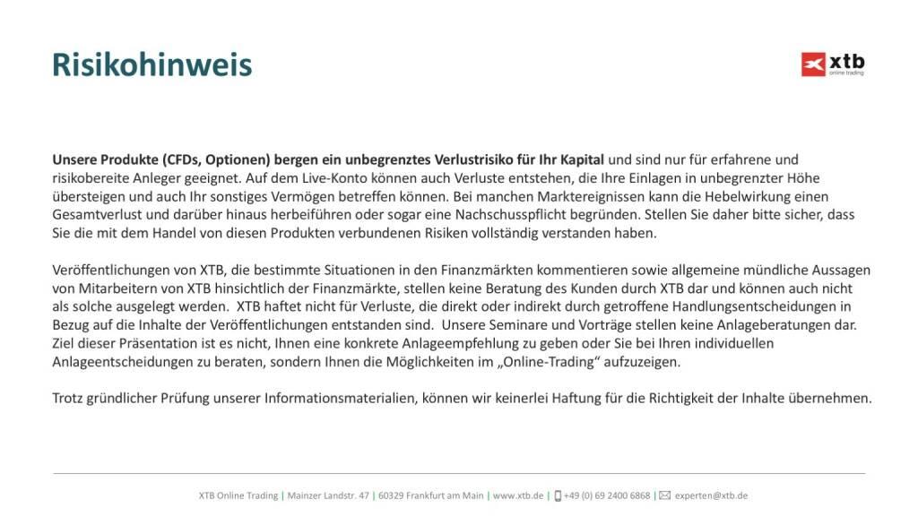 Präsentation xtb online trading - Risikohinweis (26.04.2017)