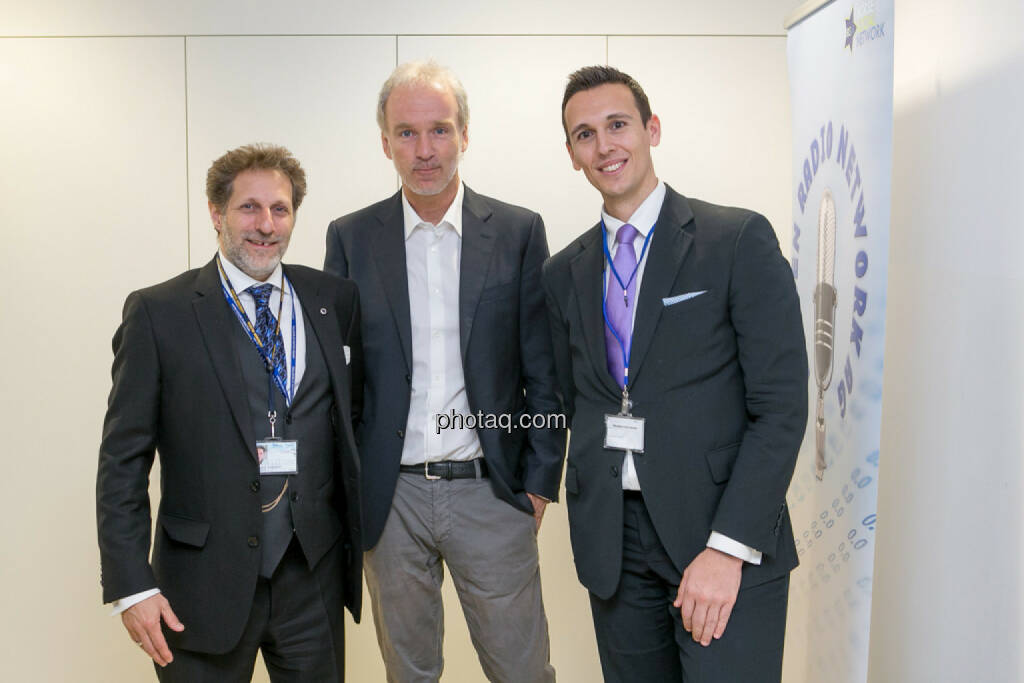 Samuel Schubert (Associate Director Webster University), Christian Drastil (BSN), Nikolaos Antonakakis (Webster University), © Martina Draper/photaq (27.04.2017)