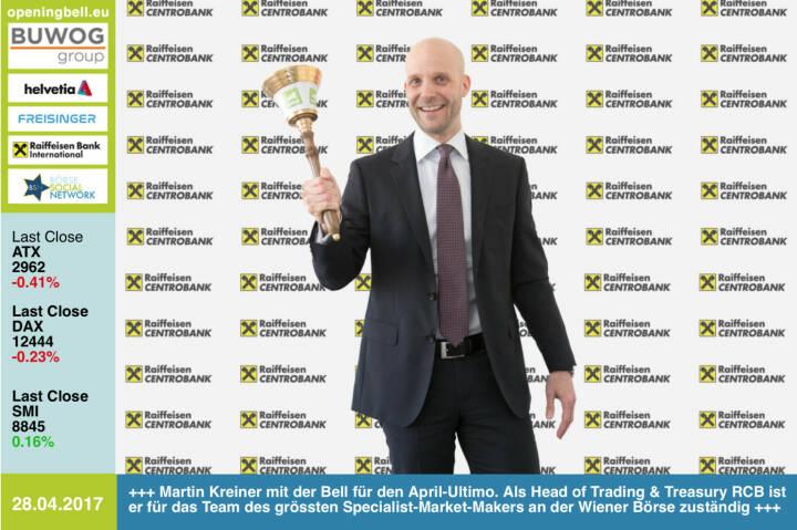 #openingbell am 28.4.: Martin Kreiner mit der Opening Bell für den April-Ultimo. Als Head of Trading & Treasury bei der RCB ist er für das Team des grössten Specialist-Market-Makers an der Wiener Börse zuständig http://www.rcb.at https://www.facebook.com/groups/GeldanlageNetwork/
