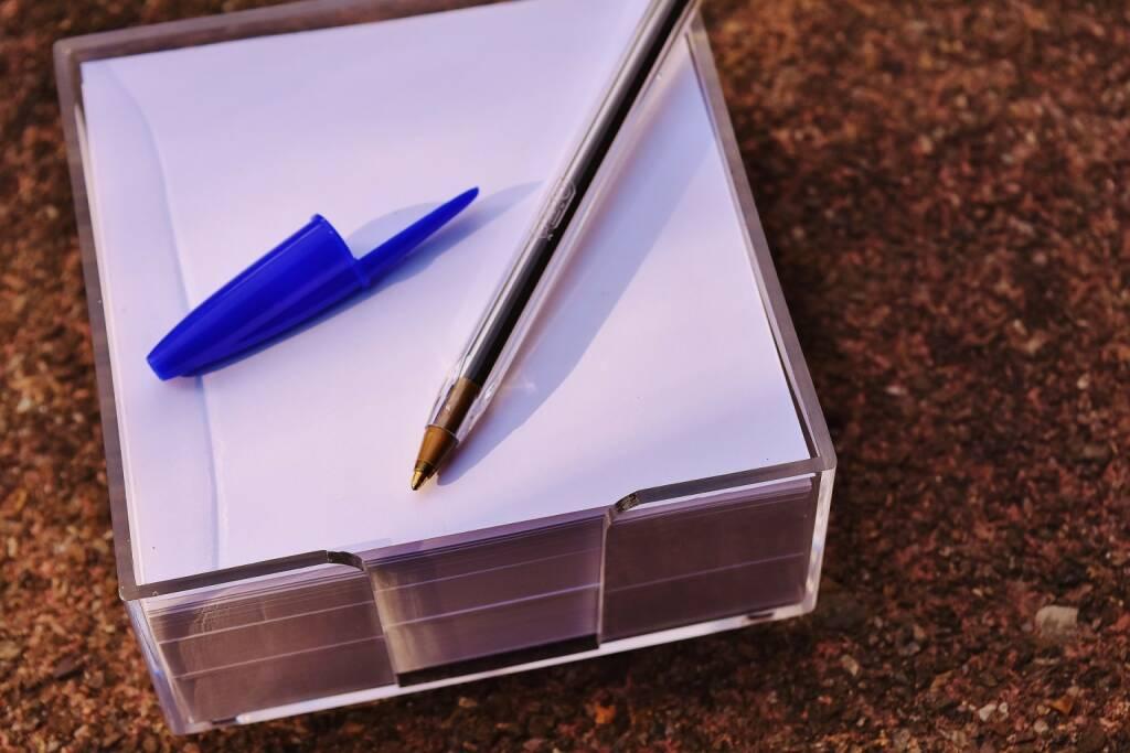 Denkzettel, Zettel, Post-It, Post It, Postit, Notiz, Schreiben, notieren, Memo (Bild: Pixabay/Alexas_Fotos https://pixabay.com/de/kugelschreiber-notizzettel-memo-1751423/ )    (28.04.2017)
