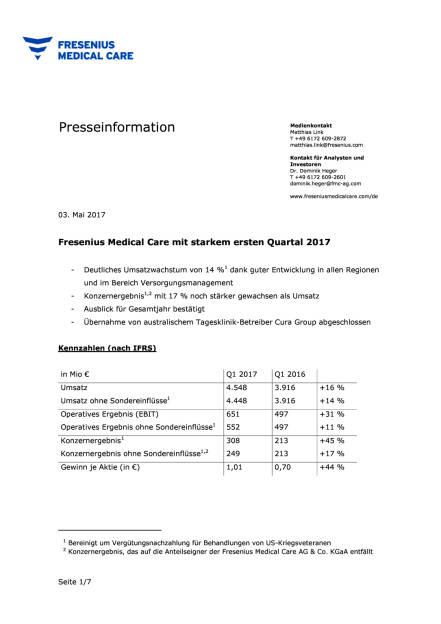 FMC: Zahlen Q1/2017, Seite 1/7, komplettes Dokument unter http://boerse-social.com/static/uploads/file_2232_fmc_zahlen_q12017.pdf (03.05.2017)