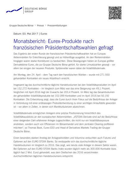 Eurex-Produkte nach französischen Präsidentschaftswahlen gefragt, Seite 1/2, komplettes Dokument unter http://boerse-social.com/static/uploads/file_2235_eurex-produkte_nach_franzosischen_prasidentschaftswahlen_gefragt.pdf (03.05.2017)