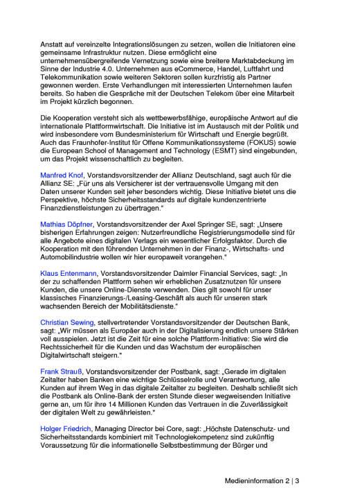 Allianz, Axel Springer, Daimler, Deutsche Bank mit Postbank sowie Core und Here planen gemeinsame Registrierungs-, Identitäts- und Datenplattform, Seite 2/3, komplettes Dokument unter http://boerse-social.com/static/uploads/file_2241_allianz_axel_springer_daimler_deutsche_bank_mit_postbank_sowie_core_und_here_planen_gemeinsame_plattform.pdf