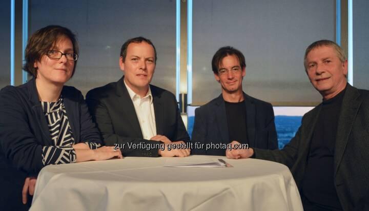 """FH-Prof.in Dr.in Nicole Gonser, Univ.-Prof. DDr. Ulrich Berger, Alwin Schönberger, Ao Univ.-Prof. Dr. Michael Kundi - Forum Mobilkommunikation - FMK: FMK-Diskussion: """"Zwischen den Zeilen – warum in wissenschaftlichen Studien 1+1 auch manchmal 3 sein kann"""" mit VIDEO (Fotocredit: FMK)"""