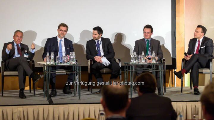 Dr. Adam Lessing, Vorstandsmitglied VAIÖ / AbgzNR Mag. Andreas Zakostelsky, ÖVP / Jakob Zirm, Die Presse / AbgzNR Matthias Köchl, Die Grünen / Dr. Christoph Boschan, Wiener Börse - 4. Finanzplaner Forum (Photo by Marko Kovic)