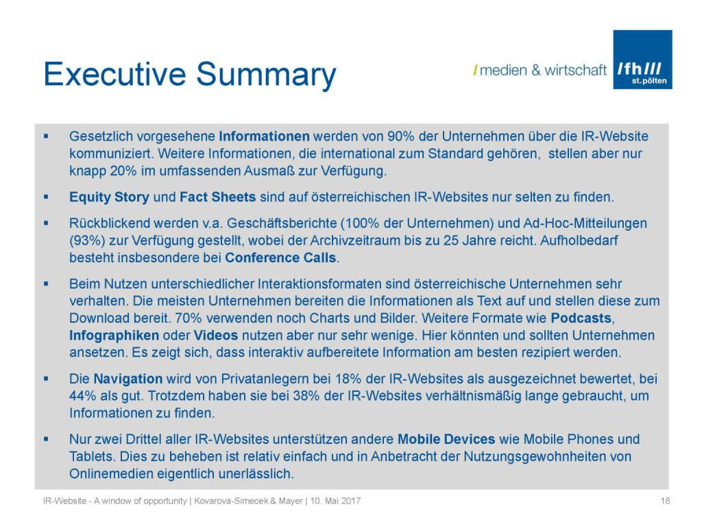 Summary - IR-Websites Studie, © Fachhochschule St. Pölten (11.05.2017)