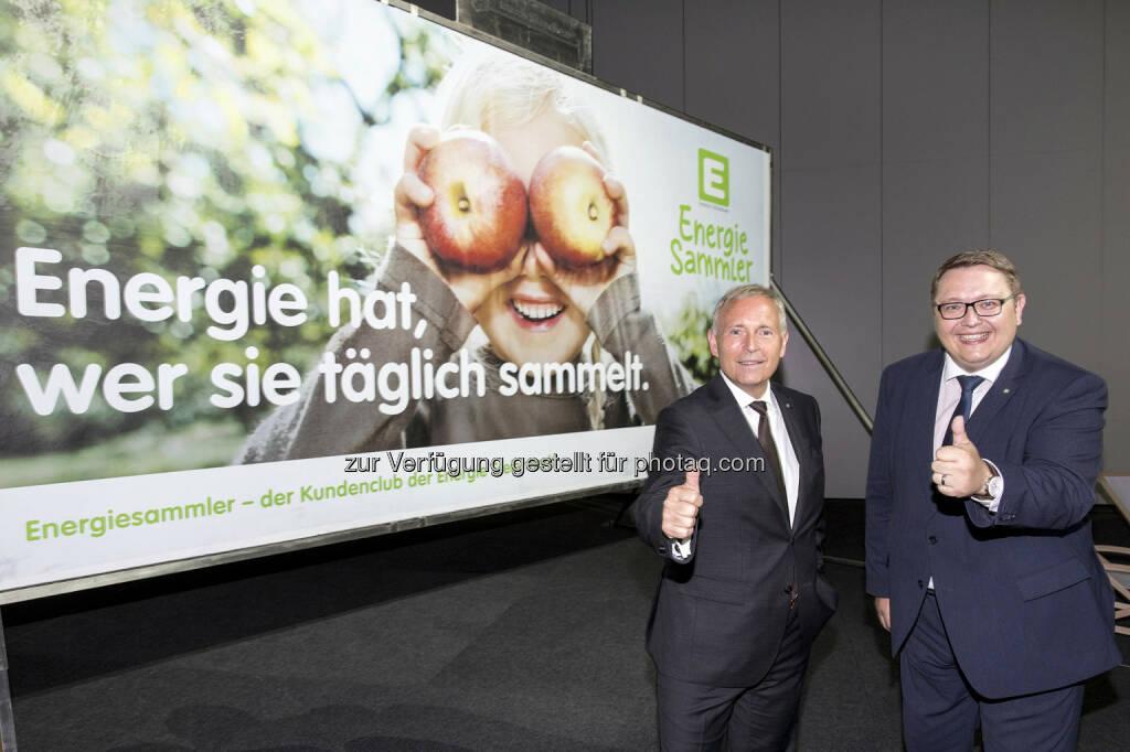 """Christian Purrer (links), Martin Graf (rechts): Energie Steiermark AG: Energie Steiermark startet Kundenclub: Attraktive Angebote für 300.000 """"Energiesammler"""" (C) Energie Steiermark, © Aussendung (11.05.2017)"""