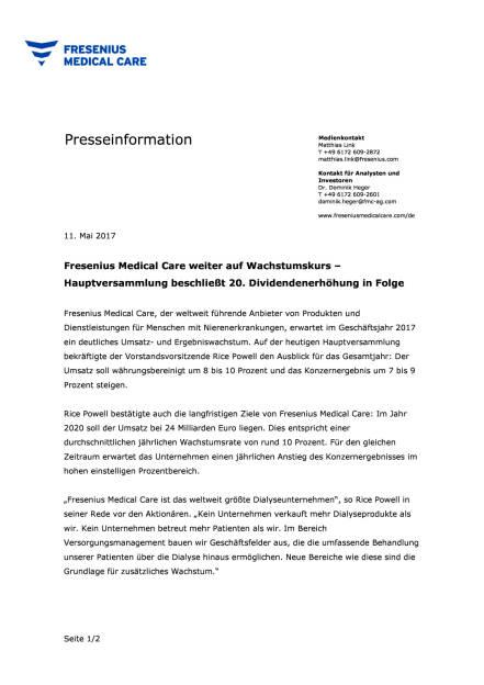 FMC: 20. Dividendenerhöhung in Folge, Seite 1/2, komplettes Dokument unter http://boerse-social.com/static/uploads/file_2248_fmc_20_dividendenerhöhung_in_folge.pdf (11.05.2017)