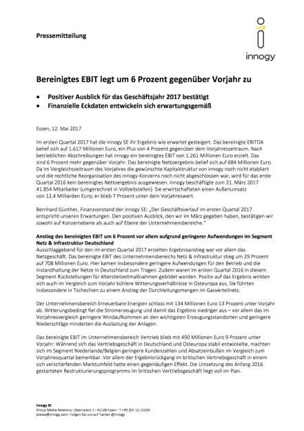 Innogy Zahlen Q1/2017, Seite 1/5, komplettes Dokument unter http://boerse-social.com/static/uploads/file_2249_innogy_zahlen_q12017.pdf (12.05.2017)