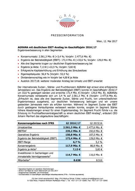 Agrana: Geschäftsjahr 2016/17, Seite 1/3, komplettes Dokument unter http://boerse-social.com/static/uploads/file_2250_agrana_geschaftsjahr_201617.pdf (12.05.2017)