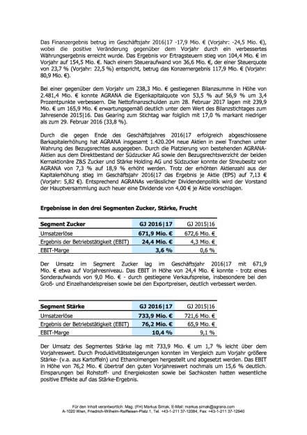 Agrana: Geschäftsjahr 2016/17, Seite 2/3, komplettes Dokument unter http://boerse-social.com/static/uploads/file_2250_agrana_geschaftsjahr_201617.pdf (12.05.2017)