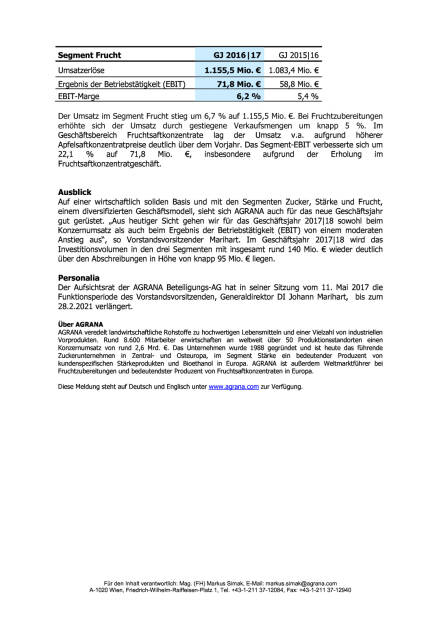 Agrana: Geschäftsjahr 2016/17, Seite 3/3, komplettes Dokument unter http://boerse-social.com/static/uploads/file_2250_agrana_geschaftsjahr_201617.pdf (12.05.2017)