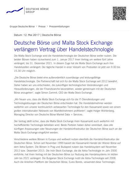 Deutsche Börse und Malta Stock Exchange verlängern Vertrag über Handelstechnologie, Seite 1/2, komplettes Dokument unter http://boerse-social.com/static/uploads/file_2251_deutsche_borse_und_malta_stock_exchange_verlangern_vertrag_uber_handelstechnologie.pdf (12.05.2017)