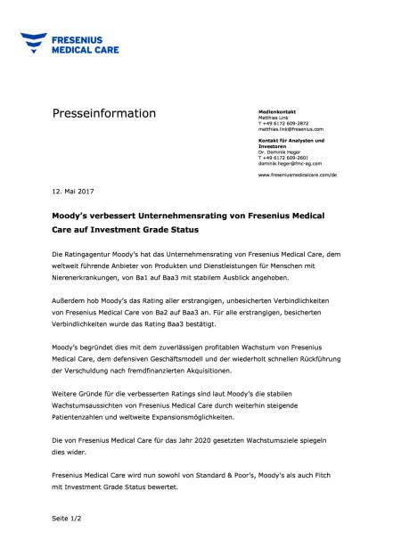 FMC: Moody's verbessert Unternehmensrating, Seite 1/2, komplettes Dokument unter http://boerse-social.com/static/uploads/file_2252_fmc_moodys_verbessert_unternehmensrating.pdf (12.05.2017)