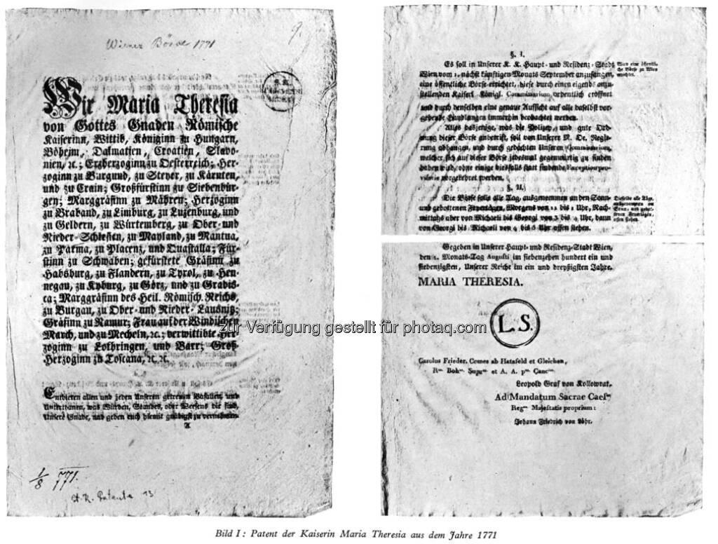 Kaiserliches Patent zur Gründung der Wiener Börse (12.05.2017)