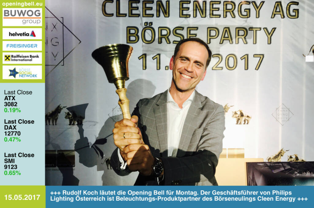 #openingbell am 15.5.: Rudolf Koch läutet die Opening Bell für Montag. Der Geschäftsführer von Philips Lighting Österreich ist Beleuchtungs-Produktpartner des Börseneulings Cleen Energy http://www.lighting.philips.at/ http://www.cleen-energy.com https://www.facebook.com/groups/GeldanlageNetwork/   (15.05.2017)