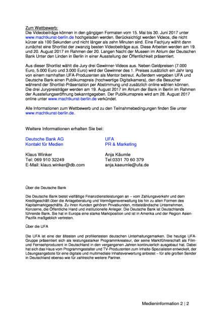 """UFA und Deutsche Bank starten Videokunst-Wettbewerb """"city video future"""", Seite 2/2, komplettes Dokument unter http://boerse-social.com/static/uploads/file_2254_ufa_und_deutsche_bank_starten_videokunst-wettbewerb_city_video_future.pdf (15.05.2017)"""