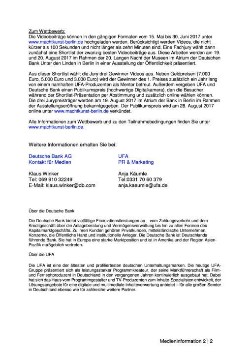 """UFA und Deutsche Bank starten Videokunst-Wettbewerb """"city video future"""", Seite 2/2, komplettes Dokument unter http://boerse-social.com/static/uploads/file_2254_ufa_und_deutsche_bank_starten_videokunst-wettbewerb_city_video_future.pdf"""