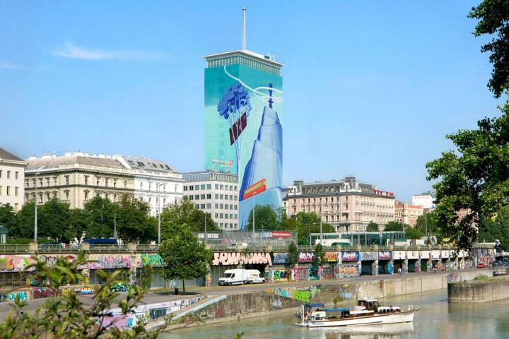 "VIG - ""Vision"" to go on display for the tenth artistic wrapping of the Ringturm:  This summer, the Ringturm will be transformed into an eye-catching work of art for the tenth time. Serbian artist Mihael Milunović's monumental installation will bring a mountain massif to the heart of the Austrian capital. More information can be found at http://bit.ly/29YV50g"