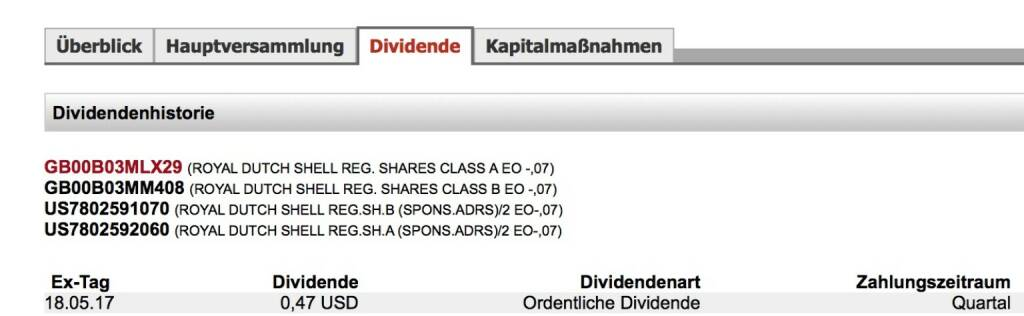 Indexevent Rosinger-Index 24: Royal Dutch Shell A-Dividende 18.5. Dividende 0,47 USD (0,42 EUR) -> Erhöhung Stückzahl um 1,65 Prozent (18.05.2017)