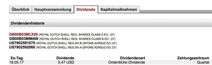 Indexevent Rosinger-Index 24: Royal Dutch Shell A-Dividende 18.5. Dividende 0,47 USD (0,42 EUR) -> Erhöhung Stückzahl um 1,65 Prozent