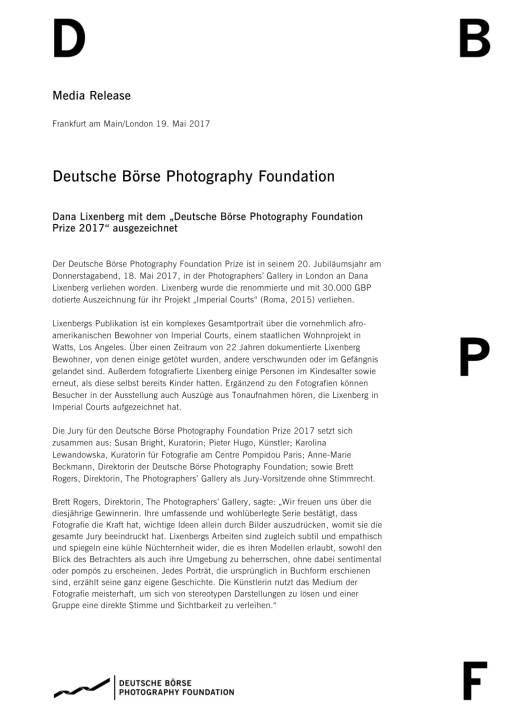 """Dana Lixenberg mit dem """"Deutsche Börse Photography Foundation Prize 2017"""" ausgezeichnet, Seite 1/4, komplettes Dokument unter http://boerse-social.com/static/uploads/file_2257_dana_lixenberg_mit_dem_deutsche_borse_photography_foundation_prize_2017_ausgezeichnet.pdf"""