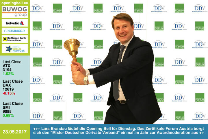 #openingbell am 23.5.: Lars Brandau läutet die Opening Bell für Dienstag. Das Zertifikate Forum Austria borgt sich den Mister Deutscher Derivate Verband einmal im Jahr zur Awardmoderation (Bilder http://www.photaq.com/page/index/3106/ )  aus https://www.derivateverband.de/ http://www.zertifikateforum.at https://www.facebook.com/groups/GeldanlageNetwork/