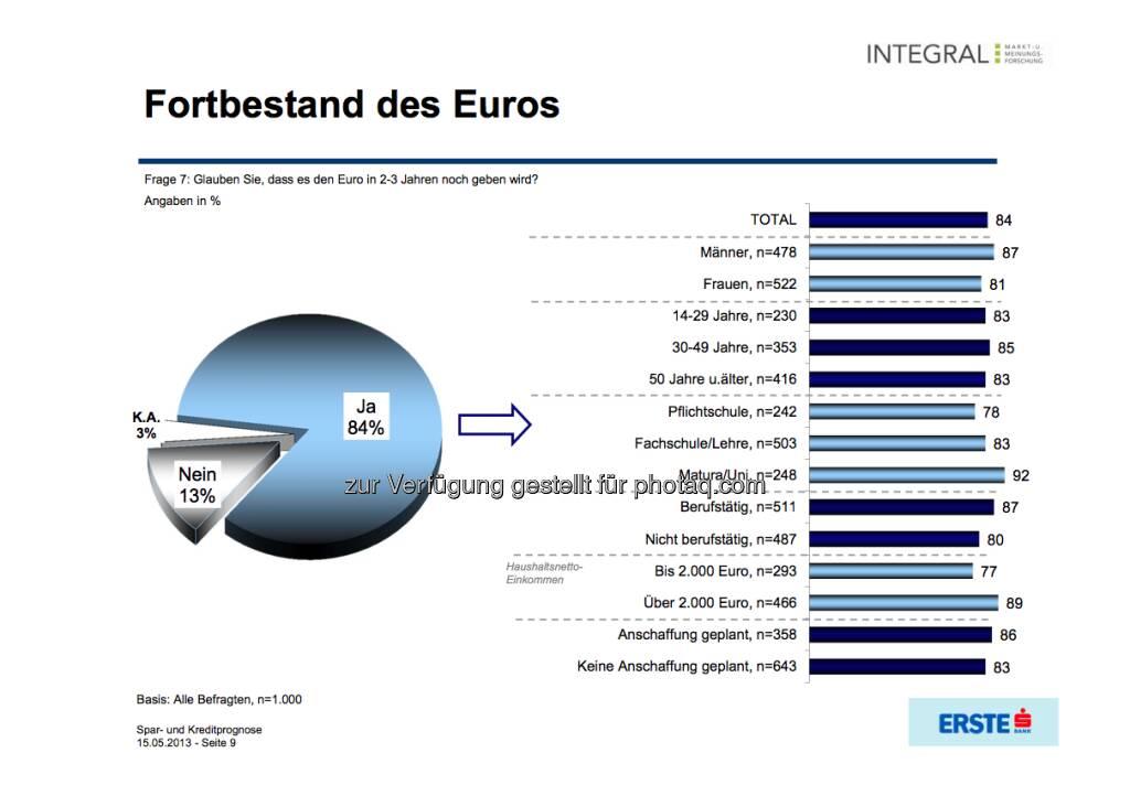 Fortbestand des Euros? (c) Integral / Erste Bank (16.05.2013)