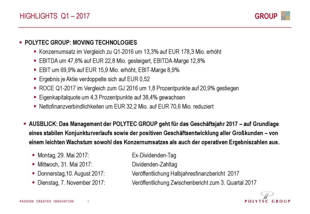 Polytec - Highlights Q1 - 2017 (30.05.2017)