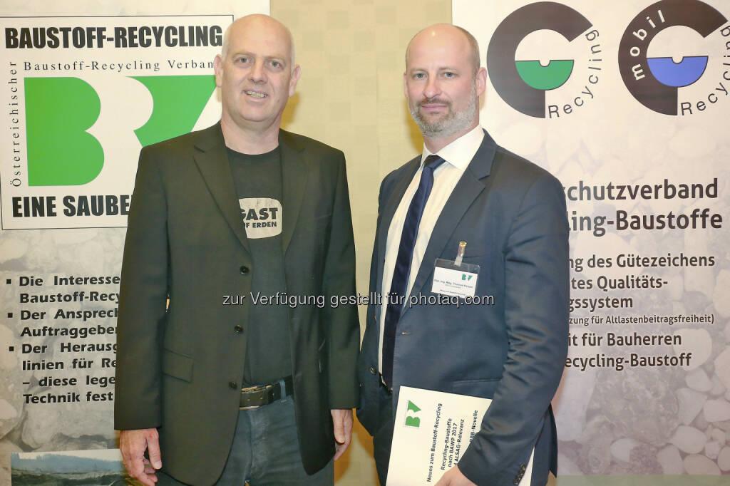 Mag. Christoph Chorherr/Landtagsabg, DI Mag. Thomas Kasper / Vorsitzender des BRV - Österreichischer Baustoff-Recycling Verband: Neues zum Baustoff-Recycling (Fotocredit: ÖBRV/APA-Fotoservice/Langegger), © Aussender (30.05.2017)