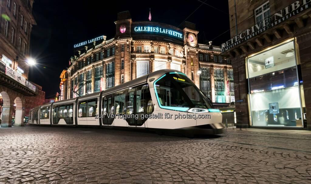 Straßenbahn Citadis auf dem Weg von Straßburg nach Kehl - Groupe PSA: Peugeot Design Lab entwirft Straßenbahn Citadis (Fotocredit: ALSTOM TRANSPORT DESIGN&STYLING), © Aussendung (31.05.2017)