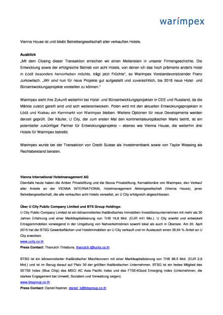 Warimpex schließt Verkauf von acht Hotels ab, Seite 2/3, komplettes Dokument unter http://boerse-social.com/static/uploads/file_2275_warimpex_schliesst_verkauf_von_acht_hotels_ab.pdf (01.06.2017)