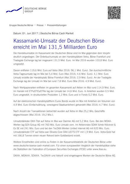 Kassamarkt-Umsatz der Deutschen Börse erreicht im Mai 131,5 Milliarden Euro, Seite 1/2, komplettes Dokument unter http://boerse-social.com/static/uploads/file_2277_kassamarkt-umsatz_der_deutschen_borse_erreicht_im_mai_1315_milliarden_euro.pdf (01.06.2017)