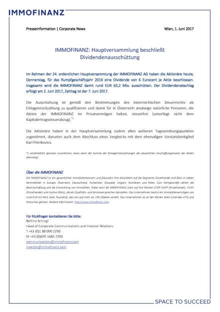Immofinanz: HV winkt Dividende durch, Seite 1/1, komplettes Dokument unter http://boerse-social.com/static/uploads/file_2278_immofinanz_hv_winkt_dividende_durch.pdf (01.06.2017)