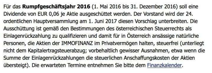 Indexevent Rosinger-Index 25: Immofinanz Dividende 2.6. Dividende 0,06 EUR -> Erhöhung Stückzahl um 2,90 Prozent