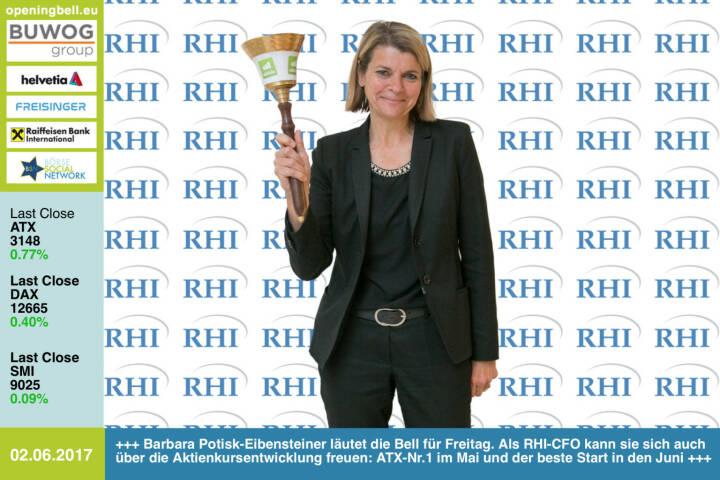 #openingbell am 2.6.: Barbara Potisk-Eibensteiner läutet die Bell für Freitag. Als RHI-CFO kann sie sich auch über die Aktienkursentwicklung freuen: ATX-Nr.1 im Mai und der beste Start in den Juni http://www.rhi-ag.com/ https://www.facebook.com/groups/GeldanlageNetwork/