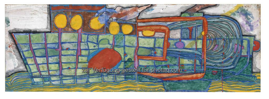 Friedensreich Hundertwasser, Das Postschiff kommt, 23 x 66 cm, erzielter Preis € 215.380, © Dorotheum  (17.05.2013)