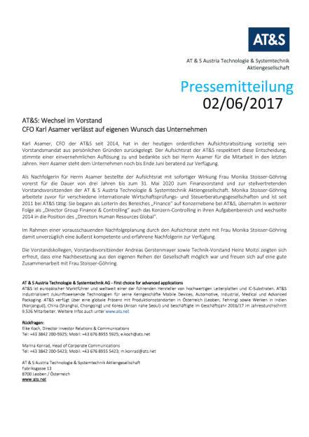 AT&S: Monika Stoisser-Göhring neuer CFO, Seite 1/1, komplettes Dokument unter http://boerse-social.com/static/uploads/file_2281_ats_monika_stoisser-gohring_neuer_cfo.pdf (02.06.2017)