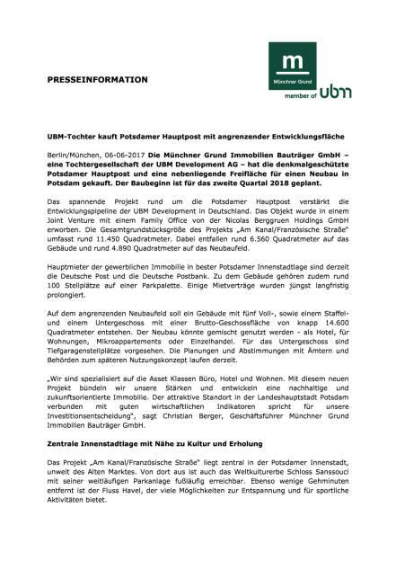 UBM-Tochter kauft Potsdamer Hauptpost mit angrenzender Entwicklungsfläche, Seite 1/2, komplettes Dokument unter http://boerse-social.com/static/uploads/file_2282_ubm-tochter_kauft_potsdamer_hauptpost_mit_angrenzender_entwicklungsflache.pdf (06.06.2017)