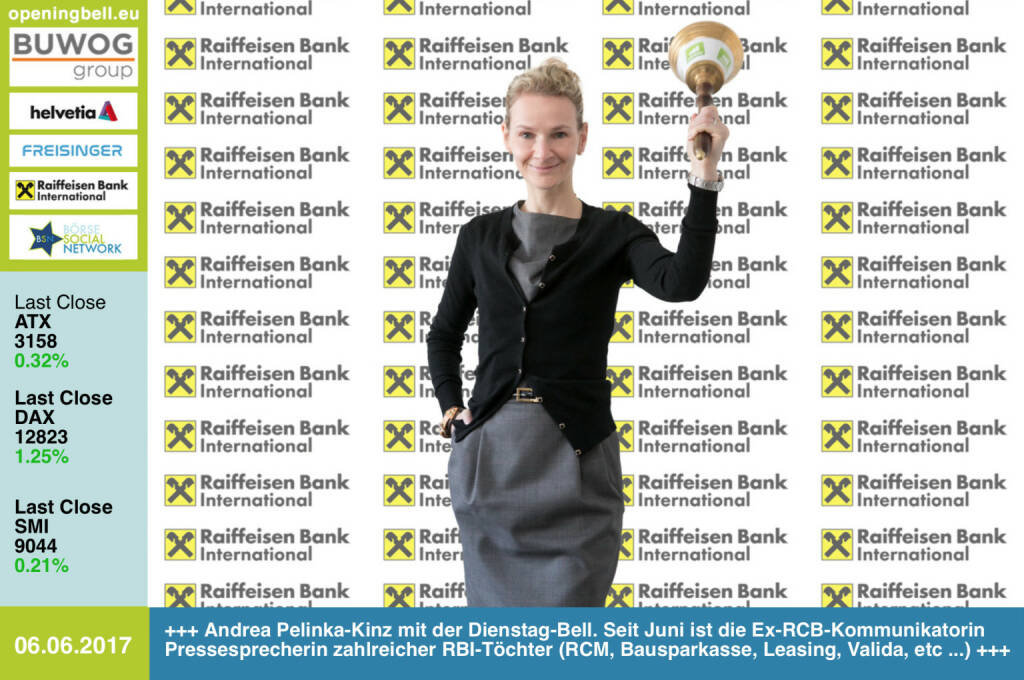 #openingbell am 6.6.: Andrea Pelinka-Kinz mit der Opening Bell für Dienstag. Seit Juni fungiert die Ex-RCB-Kommunikatorin als Pressesprecherin zahlreicher RBI-Töchter (Raiffeisen Capital Management, Raiffeisen Bausparkasse, Raiffeisen Leasing, Valida, Raiffeisen Factor Bank, Raiffeisen e-force, Raiffeisen Wohnbaubank) http://www.rbinternational.com https://www.facebook.com/groups/GeldanlageNetwork/ (06.06.2017)
